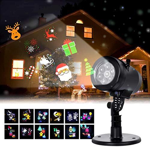 Albrillo Luz de Proyección LED para Navidad - Proyector con Varios Diapositivas, IP44 Impermeable, Decoración Interior y Exterior para Navidad Halloween Boda Cumpleaños Fiesta (12 Diapositivas)