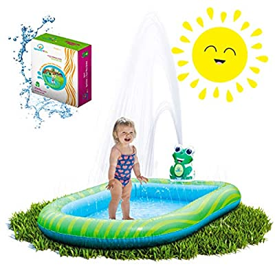 Splashin'kids 3 in 1 Inflatable Sprinkler Pool Water Park for Kids Toddlers Kiddie Wading Swimming Outdoor Play Mat 1,2,3,4,5,6 Year Old Boys Girls Large (Small and Large Size)