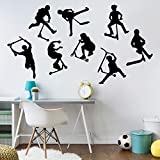 Axlgw A Set Of 8 Stunt Scooter Wall Stickers Boy Room Kids Room Stunt Scooter Bicycle Sports Wall Decal Bedroom Vinyl Decoration Size 56Cmwidex49Cmhigh