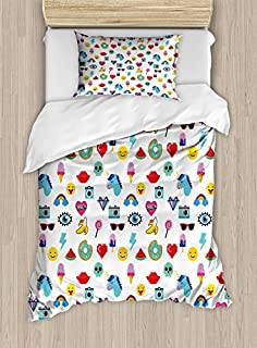 Smiley Faces Composition Print Details about  /Emoji Quilted Bedspread /& Pillow Shams Set