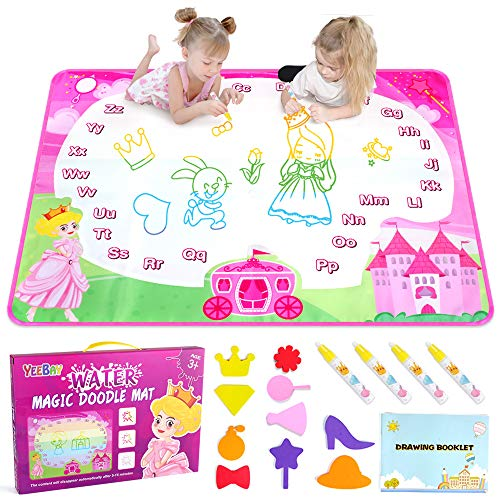 YEEBAY Water Doodle Mat, Princess Water Coloring Mats, Kids Painting Writing Doodle Board Toy, Gifts for Age 3,4,5 Year Old Kids, Toddlers, Girls