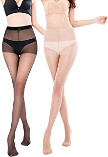 Womens Run Resistant 3 Pairs Control top Pantyhose 15 Denier Full Length Reinforced Tights Sheer Stockings