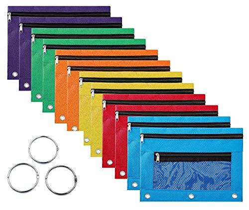 Binder Pencil Pouch with Zipper Pulls,Zipper Pencil Case with 3 Ring and Double Pocket and Mesh Window (Multicolor, 12Pack)