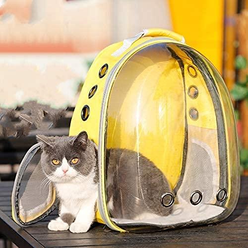 Mochila extensible para mascotas, mochila de burbujas transparente que puede transportar gatos y perros, puede contener 15 libras, mochila de senderismo (amarillo)
