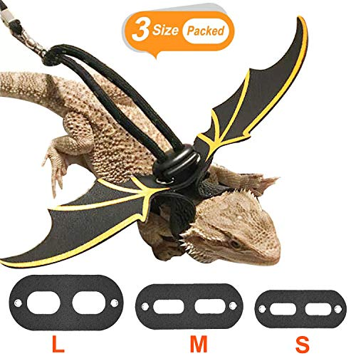 KUDES Adjustable Bearded Dragon Leather Harness Leash (S/M/L 3 Chest Pack) with Cool Wings for Lizard Reptiles Amphibians and Other Small Pet Animals