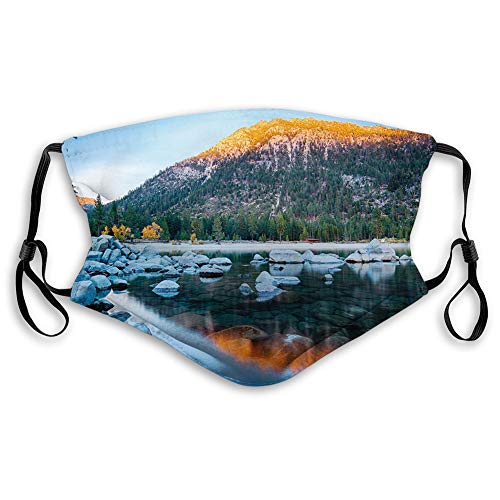 Women Men Multifunctional Half Face Bandana Reusable 3D Print Breathable Dust Protective Face Covering,Rocks in a Lake Photo North American Landscape Sierra