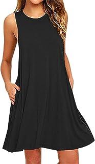 Vestidos Mujer Vestido Cortos Diarios Verano Casuales Informales Vestidos Camiseros Sin Mangas Playeros Cuello Redondo Anchos Bonitos Señora Vestir Casual Mujer Vestidos Rectos Sueltos