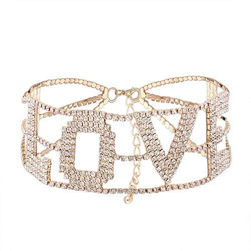 Damen Halskette mit großen Buchstaben, Liebe, Strass, Legierung, Kette
