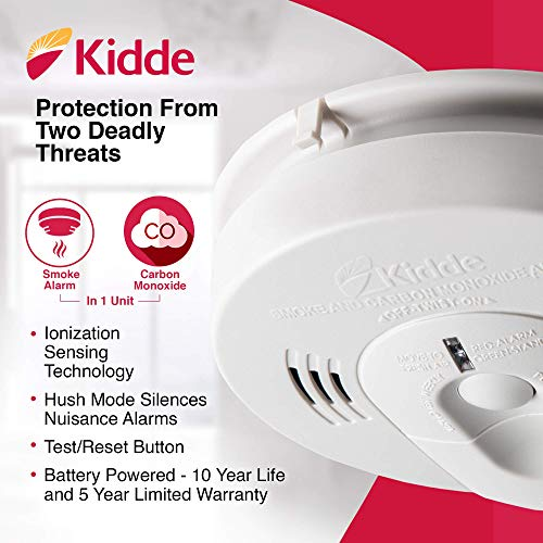4 Pack Kidde 21026043 Battery-Operated(Not Hardwired) Combination Smoke/Carbon Monoxide Alarm with Voice Warning KN-COSM-BA