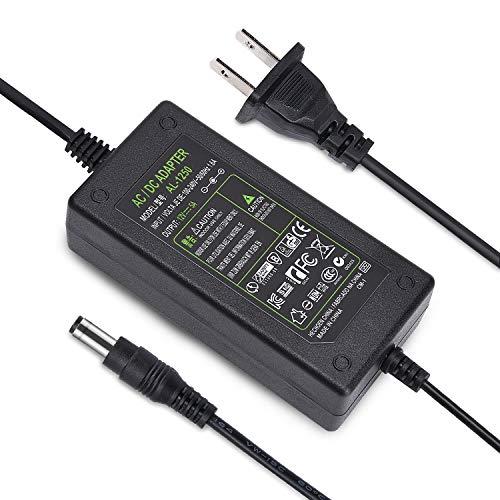 DC 12V 5A Power Supply Adapter 50/60HZ, US Plug, 4.6FT Power Cord, AC 100-240V to DC 12V 5A Switching Transformer Jack 5.5mm x 2.5mm for LED Strip, Light, Cameras CCTV