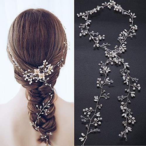 Goldge 50cm Hochzeit Haardraht Haarschmuck Haardraht Perlen Strass Haarband Brautschmuck Haarschmuck für Brautfrisur Hochzeit Kopfschmuck
