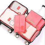 7 Set Bolsas de Almacenamiento de Viaje Cubos de Embalaje Paquetes de clasificación de Ropa multifuncionales Organizadores Set con Bolsa de Aseo (Color : Watermelon Red)