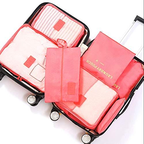 UNICODEHAPPY 7 Establecer Cubos de Embalaje para Viajes - Organizadores de Equipaje, para Accesorios de Viaje Packing Cube Compression Travel (Color : Watermelon Red)
