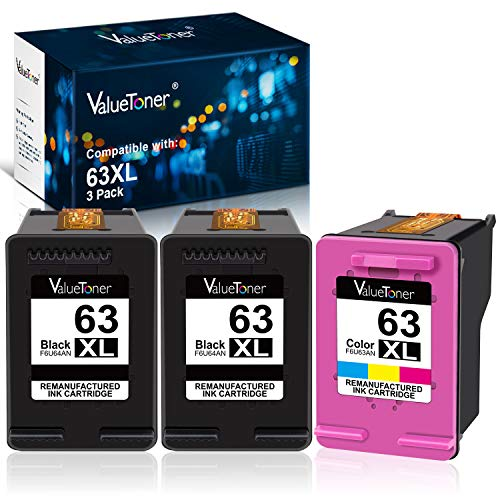 Valuetoner Remanufactured Ink Cartridge Replacement for HP 63XL 63 XL for Envy 4520 4512 4516 Officejet 5252 3830 3833 4655 5255 Deskjet 1112 2130 3630 3634 Printer (2 Black, 1 Color, 3-Pack)