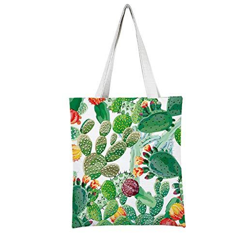 VEED Cactus Print Canvas Tote Bag Mujer Chica Bolsos de Hombro de Viaje