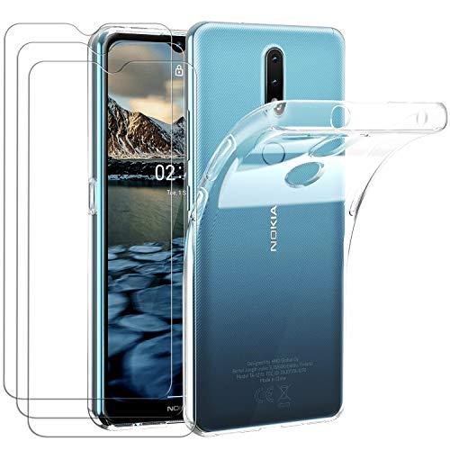 ivoler Hülle für Nokia 2.4, mit 3 Stück Panzerglas Schutzfolie, Dünne Weiche TPU Silikon Transparent Stoßfest Schutzhülle Durchsichtige Handyhülle Kratzfest Hülle