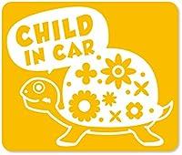 imoninn CHILD in car ステッカー 【マグネットタイプ】 No.53 カメさん (黄色)