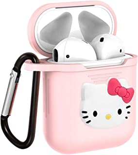 Surmoler Airpods Case Airpods Accessories Protective Silicone Cover and Skin with Carabiner for Airpods Charging Case (Hello Kitty)
