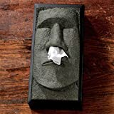 Tiki Tissue Box Holder Fun Cover Retro Moai Nose Tissue despenser Unusual Gifts for Easter Day (Black and Green)
