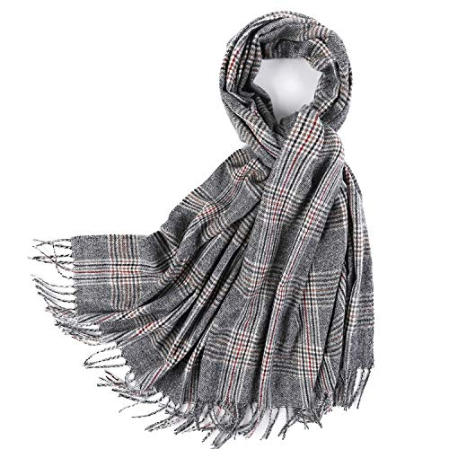 PINCTROT Cashmere Feel Plaid Scarf for Women and Men Super Soft Winter Blanket Shawl (Grey, Black & Red)