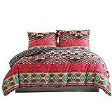 Damier Ropa de cama de 220 x 240, rojo, negro, bohemio, vintage, étnico, juego de ropa de cama de 3 piezas, suave microfibra, funda nórdica con cremallera y 2 fundas de almohada de 80 x 80 cm