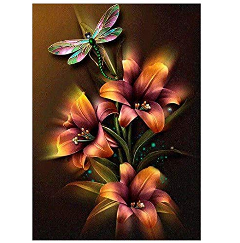 CANDYL DIY Oil Painting Paint by Number Kit for Kids Adults Students Beginner Diy Canvas Painting by Numbers Acrylic Oil Painting Arts Craft for Home Wall Decoration Lily Flower Dragonfly 16x20 Inch