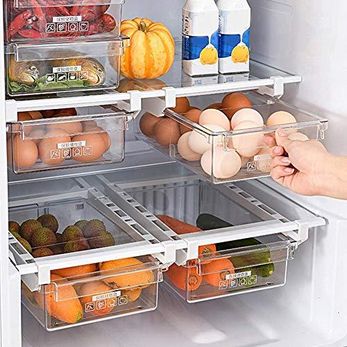 Cassetto portaoggetti frigorifero, Cassetto estraibile per frigorifero, Portaoggetti per frigorifero trasparente Ripiano...