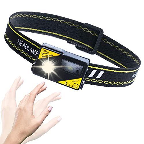 Aktualisierte Sensor-Stirnlampe LED Wiederaufladbar, Kopflampe LED, Stirnlampe USB, Superhelle, Wasserdichte, Leichte & Komfortable Stirnlampe Wandern zum Laufen, Angeln und Camping