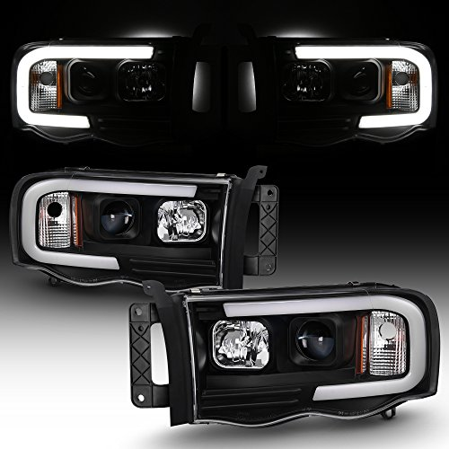 For 2002-2005 Dodge Ram 1500 03-05 2500 3500 Black LED Tube Projector Headlights Pair Left+Right Side