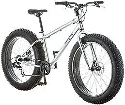 Mongoose Malus Adult Fat Tire Mountain Bike, 26-Inch Wheels, 7-Speed, Twist Shifters, Steel Frame, Mechanical Disc Brakes, Silver/Black