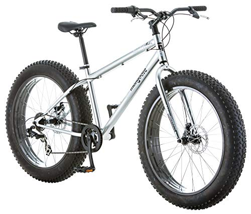 Mongoose Malus Adult Fat Tire Mountain Bike, 26-Inch Wheels, 7-Speed, Twist Shifters, Steel Frame, Mechanical Disc Brakes, Silver with Black Rims