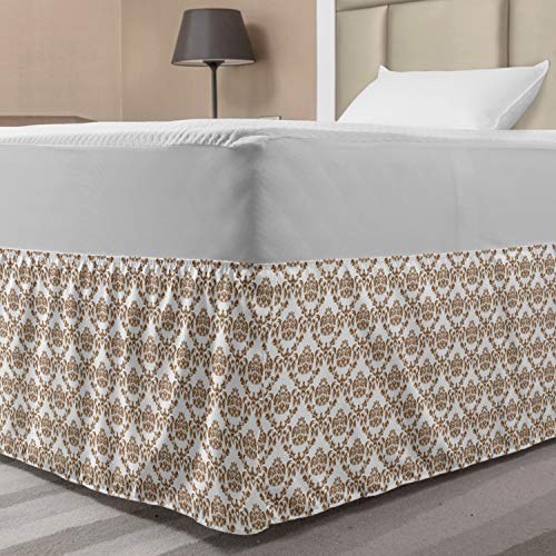 Lunarable Damask Elastic Bed Skirt, Damask Pattern in Ornamental Design and Antique Royal Style Inspired Print, Wrap Around Fabric Bedskirt Dust Ruffle for Bedroom, Twin/Twin XL, White Brown