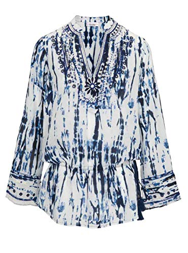Linea Tesini Designer-Tunkia mit Stickerei, weiß-blau (44/46)