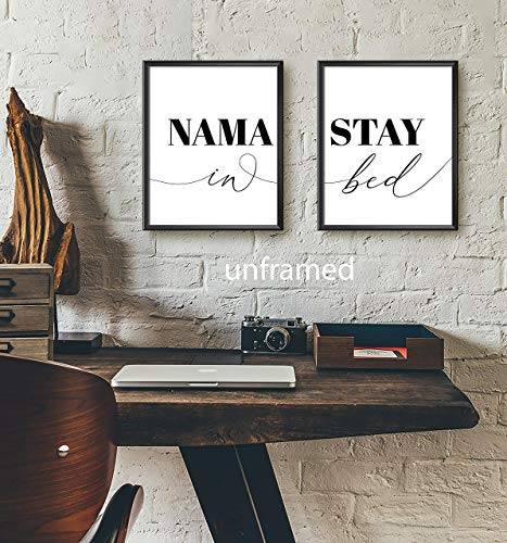 Namastay in Bed 11 x 14 Inch print Minimalist Art Typography Art Bedroom Wall Art Romantic Gift Home Wall Art Poster