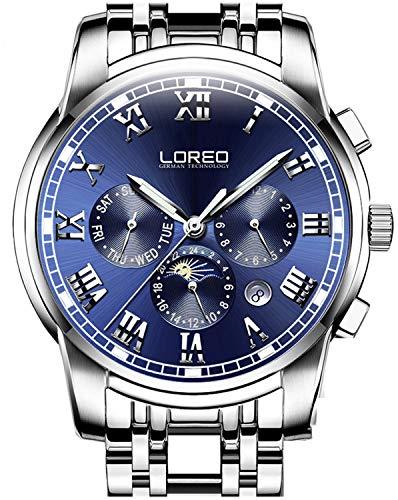 LOREO Reloj automático multifunción para hombre de acero inoxidable plateado zafiro...