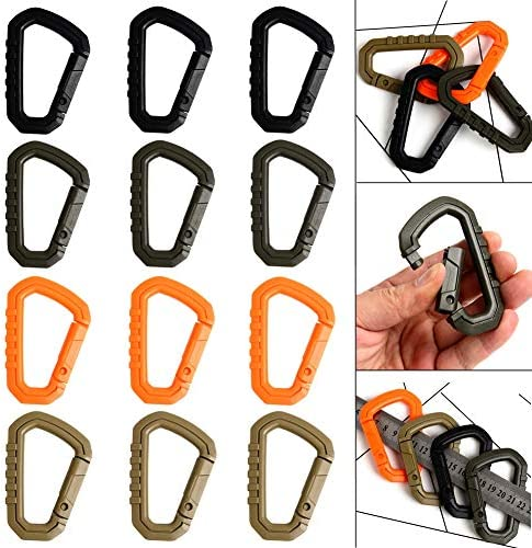 12pcs Enforcement Polymer Light Weight Multipurpose Molle Tactical D Ring Locking Hanging Hook product image