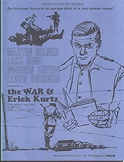 MCA TV MOVIE promo sheet 1960s Martyin Milner Warren Oates THE WAR & ERICK KURTZ