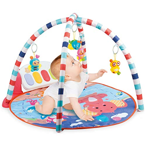 Baby Gym Game Pad, with Music Pedal Piano and Hanging Toys, Fitness Rack Crawling Mat Baby Toys for Infant Newborn Boy Girl Early Development Play Mat Activity Center (US spot,Multicolour1)