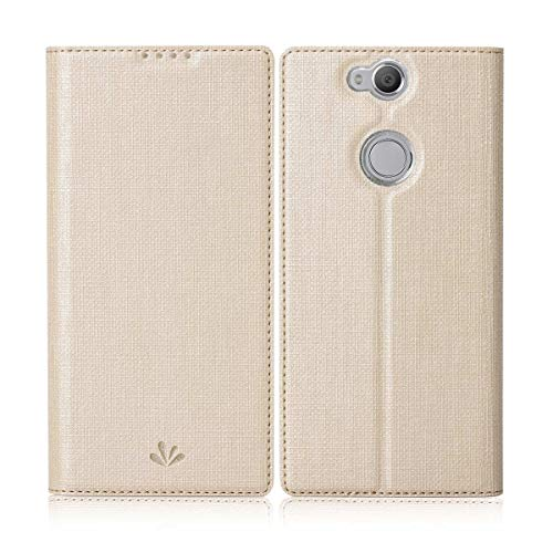 Eastcoo Sony Xperia Xa2 Plus Hülle Schutzhülle Tasche Handyhülle Cover PU Leder Folio Flip Dünn Premium klappbares Book Hülle [Mit Standfunktion][Kartenfach] [Wallet] Für Sony Xperia Xa2 Plus (Gold)