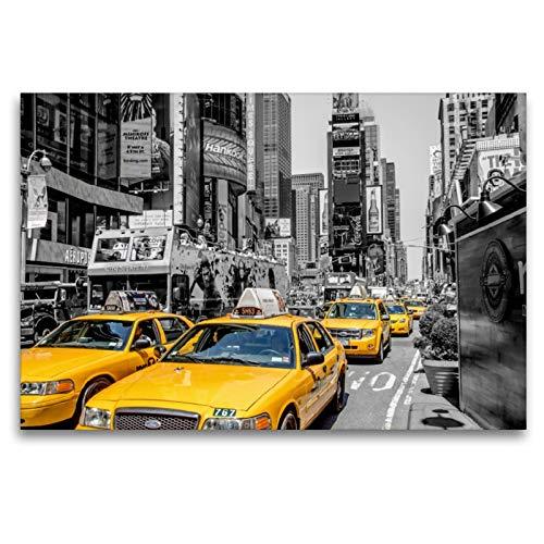 Premium - Lienzo de lienzo (120 x 80 cm, horizontal), diseño de taxis de Nueva York