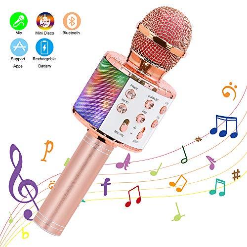 Ankuka Microphone sans Fil Karaoké, Microphone Bluetooth 4 en 1 Portable Lecteur Karaoké avec Lumières LED de Danse, pour Fête Chanter Idée Cadeau Enfants (Or Rose)