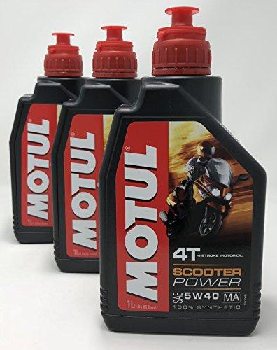 MOTUL Acete Motor Moto 4 Tiempos Scooter Power SAE 5W-40 MA, 3 litros