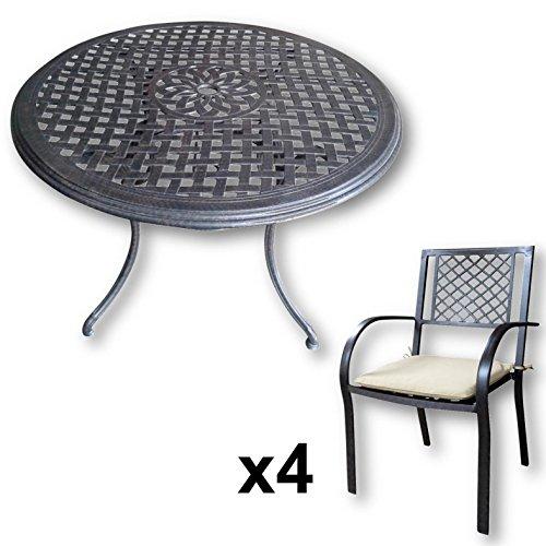 Lazy Susan Furniture - Lily 120 cm Round 4 Seater Cast Aluminium Garden Set - Antique Bronze (Jane chairs, Stone cushions)