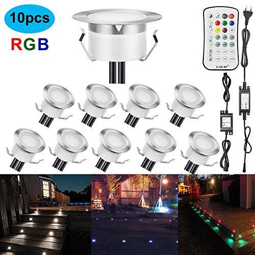 Foco LED empotrable en el suelo, exterior, 1 W, diámetro 61 mm, IP67, resistente al agua, foco LED empotrable para terraza, cocina, jardín, lámpara LED, rgb, 10 unidades