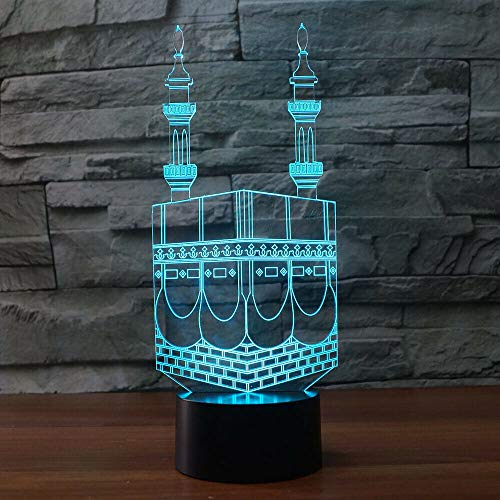 Jinson well 3D Islamischer Muslim Lampe optische Illusion Nachtlicht, 7 Farbwechsel Touch Switch Tisch Schreibtisch Dekoration Lampen mit Acryl Flat ABS Base USB Spielzeug
