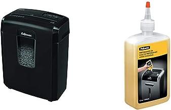 $71 » Fellowes Powershred 8MC/8MC5 8-Sheet Micro-Cut Paper Shredder, Black & 35250 Powershred Performance Oil, 12 oz. Bottle w/Extension Nozzle