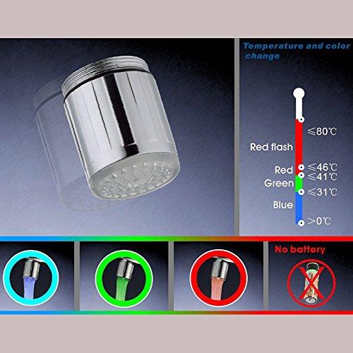 2 Packung Bunte LED Wasser Wasserhahn mit 3 Farben wechseln Temperaturkontrolle, FLYING RC-F03 Wasser-Wasserhahn-Hahn Für Küche und Badezimmer. - 2