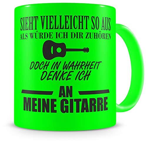 Samunshi® Tasse Gitarre mit Spruch Geschenke für Musiker Gitarre Geschenk Kaffeetasse Tassen Kaffeebecher neon grün 300ml H:95mm/D:82mm neon grün