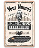 Tamengi Personalized Recording Studio - Durable Metal Sign - Use Indoor/Outdoor - Great Gift and Decor for Artists and Home 8 in X 12 In, Wall Art Decor