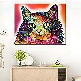 SADHAF Hd Print Abstract Animal Cute Red Cat Wall Art Canvas Baby Room Decoración del hogar Pintura A5 60x90cm